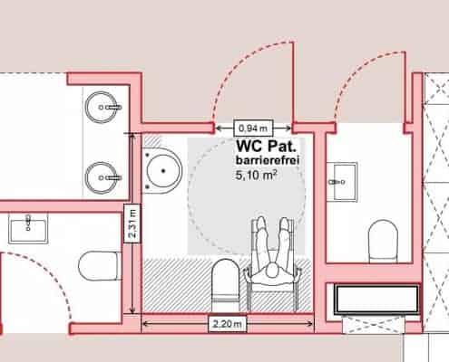 Grundriss des barrierefreien WCs mit Maßen