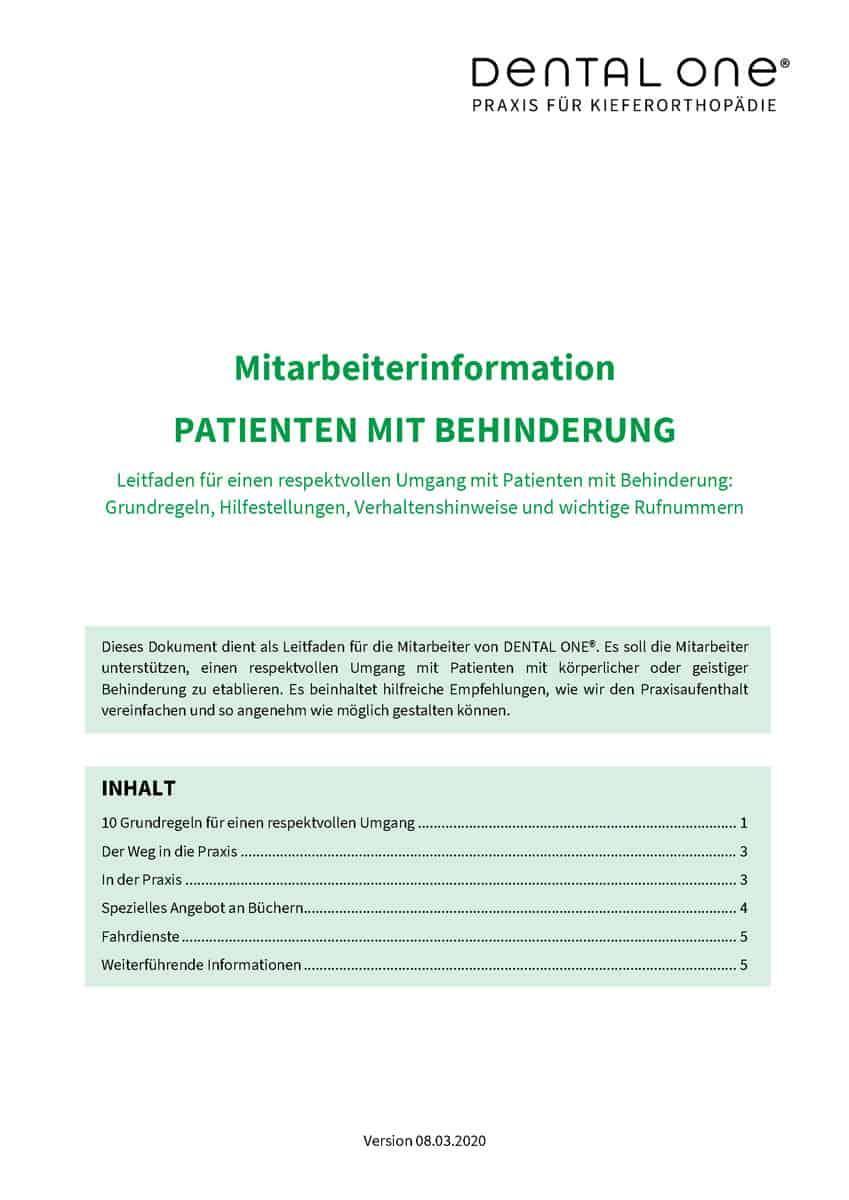 Mitarbeiterinformation zum Thema Patienten mit Behinderung